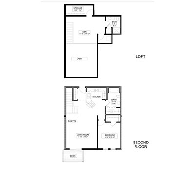1 bed, 2 bath with loft floor plan